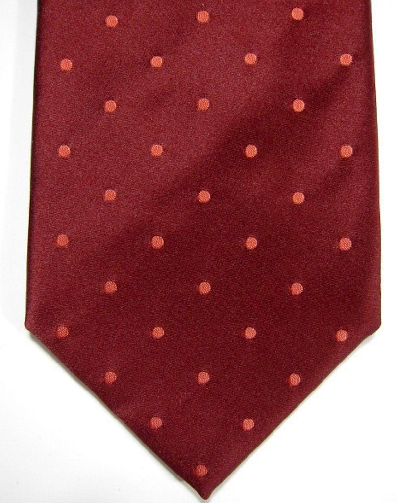 VINTAGE Giorgio Armani Burgundy Red With Green Holly Leaf Silk Tie Made in Italy - $21.37