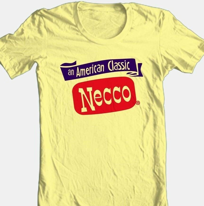 Necco T-shirt candy retro vintage style 1970's 100% cotton yellow graphic tee