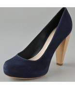 Loeffler Randall Womens Esther Suede Navy Hidden Platform Wood Heel Pump... - $56.10