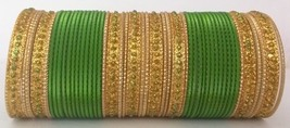 Indian Bollywood Ethnic GoldTone Bridal 48pcs ParrotGreen Colored Bangle... - $10.13