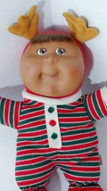 Cabbage Patch Kids Baby Doll 2007 red green striped reindeer costume brown AA  - $5.34