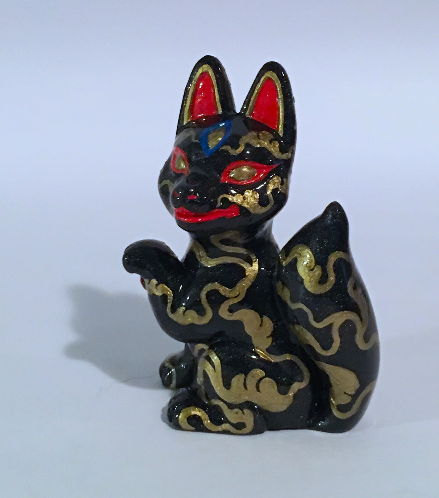 Candi Bolton Resin Black and Gold Kitsune Fox