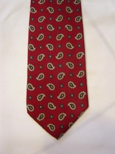 Primary image for MEN NECKTIE TIE ITALIAN MADE 100% SILK RED WITH PAISLEY