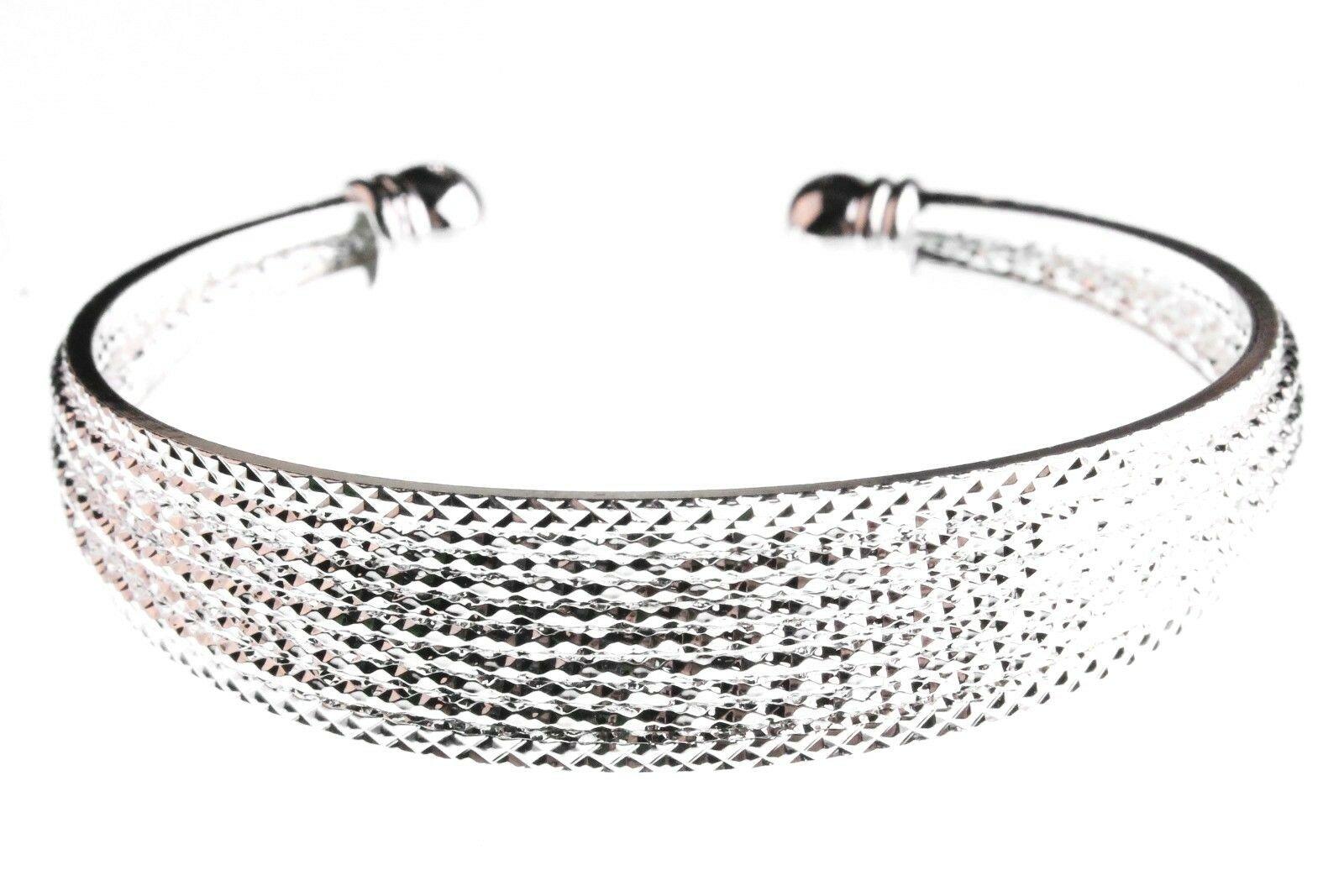 EleQueen Argent Brillant Ton 10-row Cristal Autrichien Bracelet Manchette Nwt