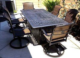 Fire pit dining propane table set 7 piece outdoor cast aluminum patio furniture image 5