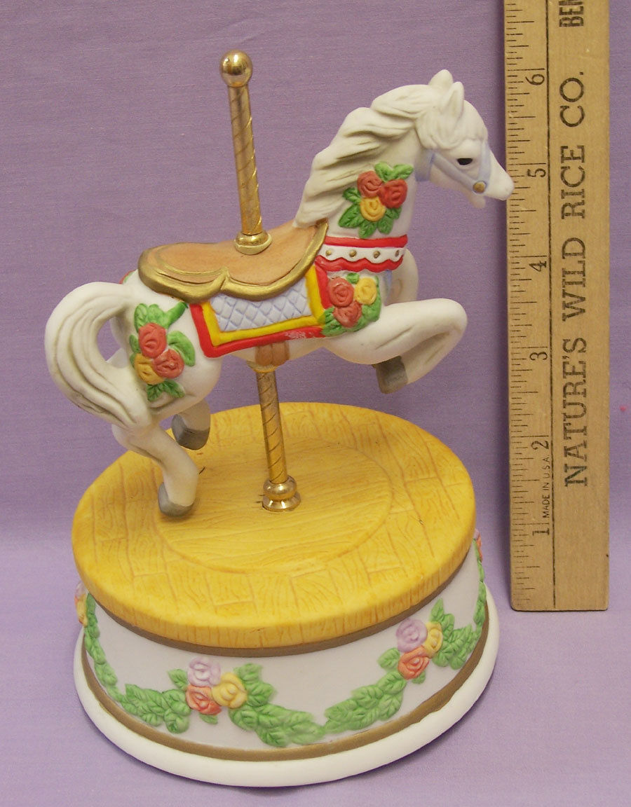 Primary image for Carousel Music Box Ceramic Horse Roses San Francisco Company