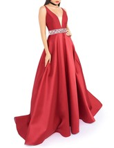 Women's Deep V-Neck Beaded Prom Dress Long Satin Evening Dresses with Po... - $132.99