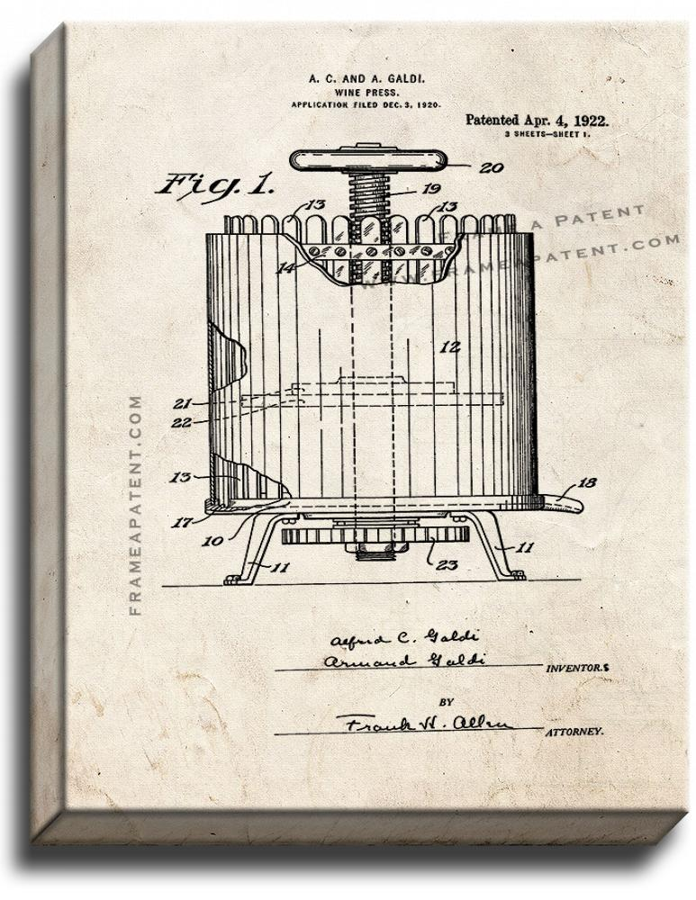 Primary image for Wine Press Patent Print Old Look on Canvas