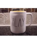 Rae Dunn Rustic PLAY Mug, Yellow Inside - $14.00