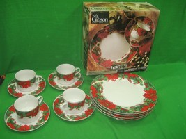 Gibson Housewares Holidays Twelve (12) Piece Dinnerware Set Christmas Di... - $35.49