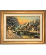 Thomas Kinkade Cobblestone Christmas 18 x 27 LE S/N Canvas (Gold Frame) - $984.90