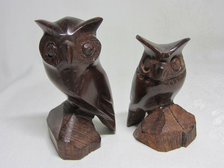 Lot of 3 Hand Carved Wood Vintage Owl Bird Figurines Figures MCM Art