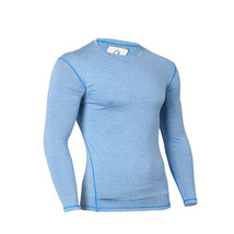 Men Running Tights Compression Round Collar Training Tight Long Sleeve T... - $17.99