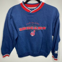Starter Crewneck Sweatshirt Youth M Blue Cleveland Indians MLB Baseball ... - $18.66
