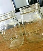 Vtg Lot 2 Ball Mason Pint Jars Farmhouse Clear Glass Canning 61A Fruit Design - $9.28
