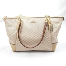 Coach Legacy Jacquard Ava Tote F28467 Milk Beechwood with Leather - $123.17