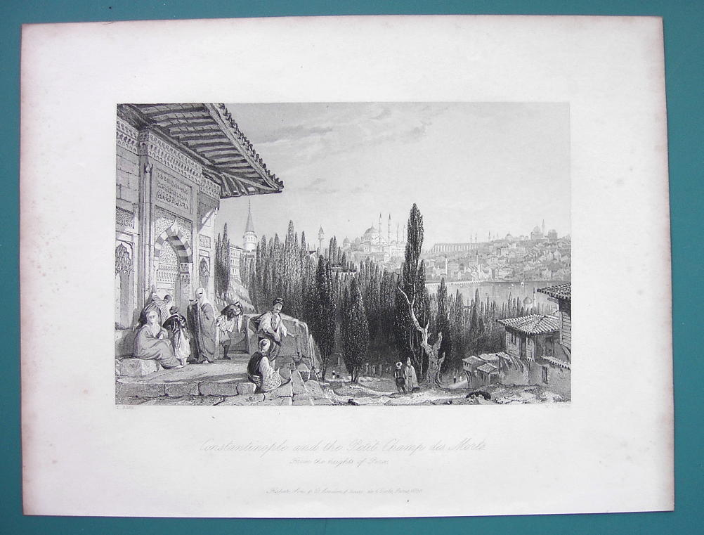 CONSTANTINOPLE View from Cemetery Petit Champ Mars - 1840 Antique Print by Allom