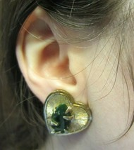 Vintage Heart Gold Tone Green Jade Jadeite Clip-On Earrings - $30.00