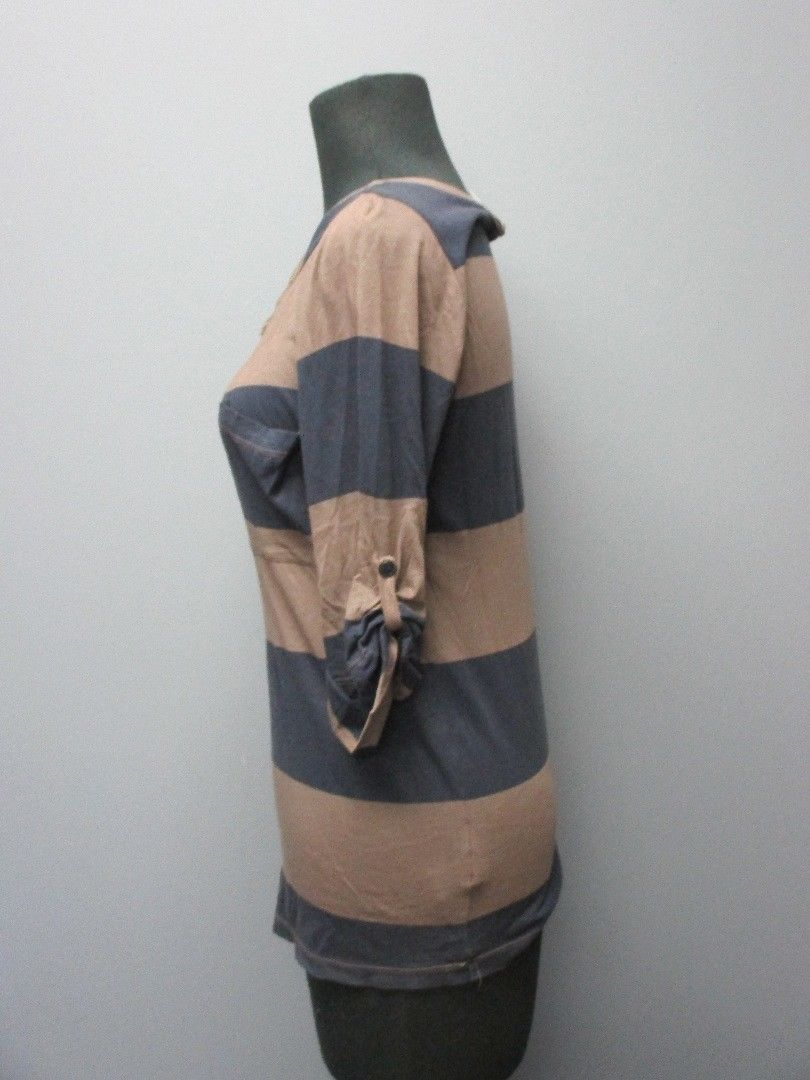 SPLENDID Navy Blue Brown Striped Cuffed Half Sleeve Scoop Neck Top Sz S DD1121