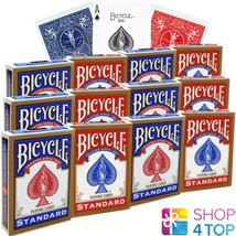 12 DECKS BICYCLE RIDER BACK STANDARD INDEX PLAYING CARDS RED BLUE NEW - $44.72