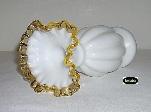 """Fenton Gold Crest Vase 9"""" Double Crimped Vintage"""