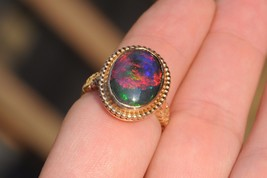 Antique (ca. 1890), 14K Yellow Gold, Ethiopian Opal Ring (Size 8) - $1,085.00