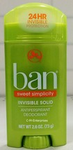 Ban Invisible Solid Antiperspirant Deodorant Sweet Simplicity Scent 2.6 oz - $5.59