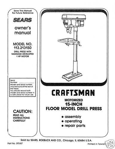 "Primary image for Craftsman 15 "" DRILL PRESS Manual Model 113.213150"