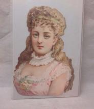 Victorian embossed die cut. Portrait lady with long, blonde hair - $8.99