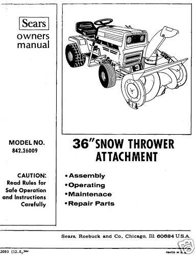 "Craftsman 36"" Snow Thrower Attach. Manual # 842.26009"