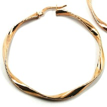 18K ROSE GOLD CIRCLE HOOPS PENDANT EARRINGS, 4.7 cm x 3.5 mm WORKED & TWISTED image 2