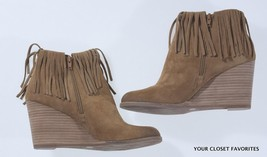 Lucky Brand Women 9.5 Lachin Bootie Honey Beige Suede Leather Fringed An... - $41.30
