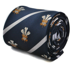Frederick Thomas navy striped prince of wales feathers tie Welsh Rugby S... - $19.36