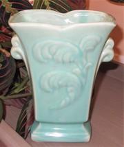 "Vintage Shawnee Light Turquoise Feather Plume Design 7"" Double Handle Va... - $18.88"