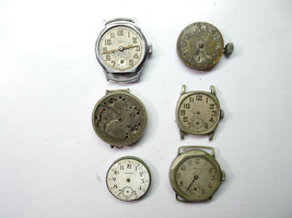 Antique Waltham,Elgin,Cadillac,Solomax,Buren Trench Cushion Case Watch Parts - $188.67