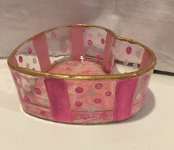 Hand Painted Glass Heart Candy Bowl Marble Bott... - $14.99