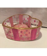Hand Painted Glass Heart Candy Bowl Marble Bottom Pink White Gold - $14.99