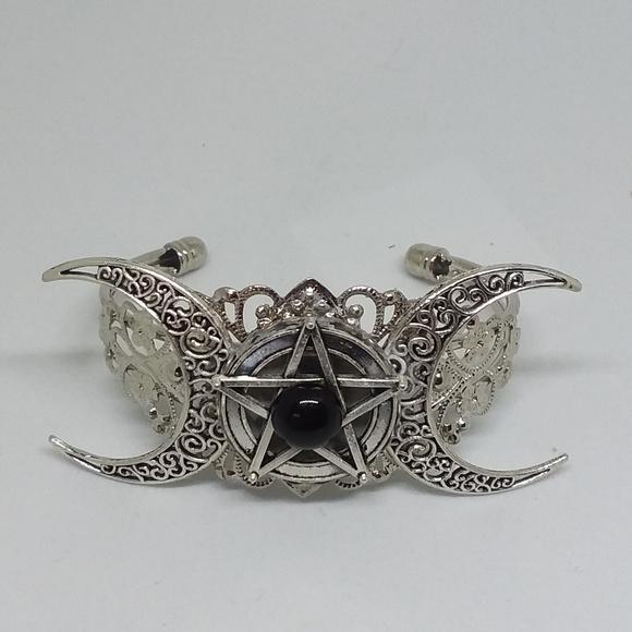 Triple Moon Goddess Pentacle Black Onyx Bracelet