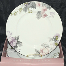 222 Fifth Patio Rose * 4 DINNER PLATES * Round Gray Lavender Pink Floral... - $19.99