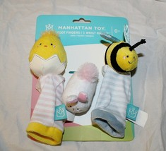 New Manhattan Toy Spring Baby Foot Finders Socks Wrist Rattle Bunny Chic... - $9.89