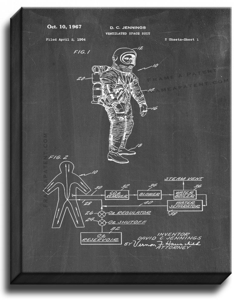 Primary image for Ventilated Space Suit Patent Print Chalkboard on Canvas