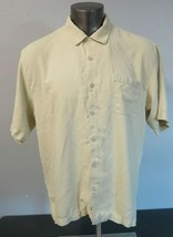 Mens Tommy Bahama Short Sleeve Button Front Hawaiian Silk Shirt L Yellow T31166 - $24.74