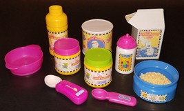 Fisher Price Little Mommy Toy Food Lot Milk Bottles Spoons Cereal Peas C... - $24.14