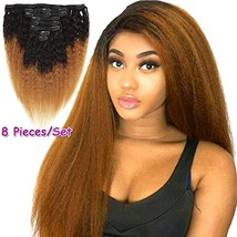 Feelgrace Kinky Straight Clip In Human Hair Extension Ombre 2 Tone 1B/Brown Colo