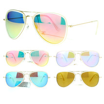 SA106 Womens Feminine Brushed Gold Metal Double Frame Mirror Aviator Sunglasses - $10.95