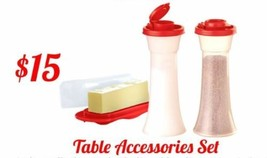 Tupperware NEW salt and pepper shakers plus butter dish - $14.03