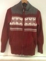 Eddie Bauer Womens M Fair Isle Sweater Cardigan Full Zip Burgundy Red Gr... - $18.95