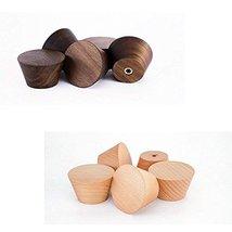 2Pcs Natural Wooden Coat Hooks, Wall Mounted Single Cone Wall Hook Rack, Decorat image 4