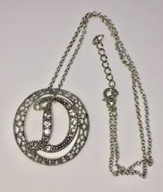 "Ornate filigree silver tone ""D"" cz pendant vintage necklace - $9.00"