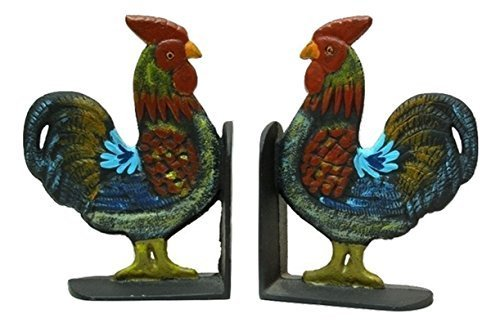Folk Art Style Rooster Decorative Cast Iron Book Ends